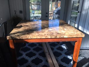 Marble top table, 54x54 square pub height table. 36 inches tall. SUPER HEAVY!!! Will need 2-3 guys and a truck. No bar stools with it. Thanks for loo for Sale in Gig Harbor, WA
