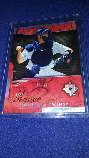 Rear Joe Mauer Minnesota Twins baseball card only 50 made for Sale in Garland, TX
