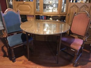 Vintage Formica Round Table with Glass Top and 2 upholstered arm Chairs for Sale in Indianapolis, IN