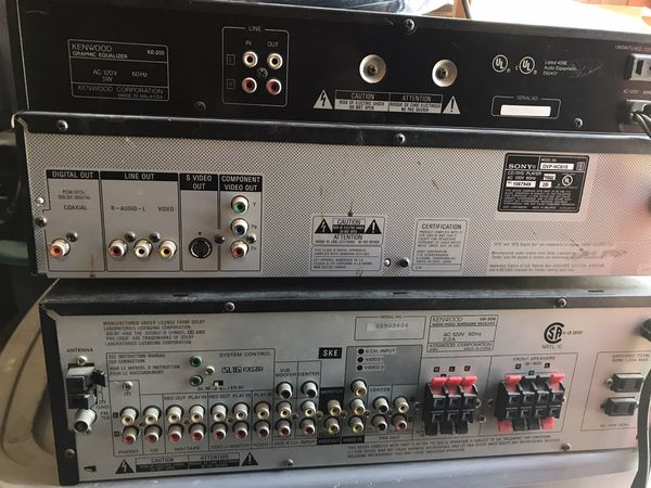 Kenwood Sony stereo system - receiver, equalizer and 5 disk CD/DVD/MP3