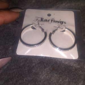 New Silver Earrings With Diamonds for Sale in Tulsa, OK
