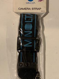 New Vtg 1980s Minolta Black Camera Strap with Blue Embroidered Logo Adjustable for Sale in Decatur,  GA
