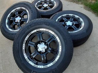 18s rims Black And Chrome wheels 5 lugs 5x150 With tires for Sale in Riverside,  CA