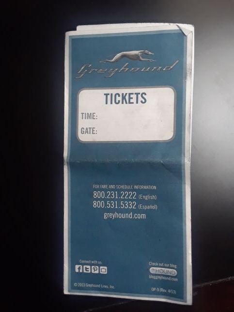 Greyhound Bus Ticket. Tacoma to Spokane