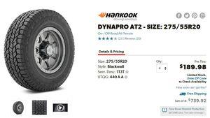 "20"" Inch RIM Wheel Offroad Tires Black Hankook 275/55/R20 for Sale in Santa Clara, CA"