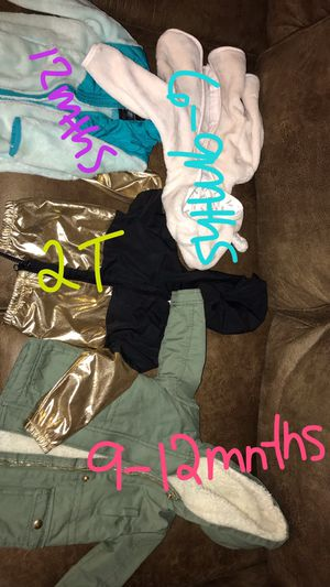 Baby girl coats jackets size 6 9 months and 12 months and 2t Macys osh kosh target for Sale in Kennewick, WA
