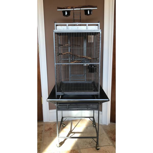 Large Rolling Bird Cage with Play Top