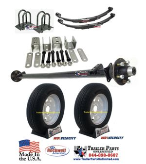 "3.5k Idler Trailer Axle Kit w/ 15"" 6Ply Trailer Tires and White Spoke Wheels 5 lug for Sale in Huntsville, TX"