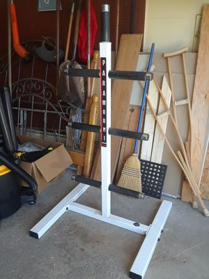 Nearly 5' Tall Olympic Sized Weight Plate Storage Tree w/ 7 Posts for Sale in Parma, OH