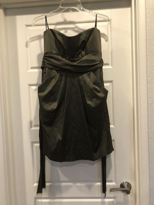 Olive green strapless shirt dress with pockets sash back tie size medium for Sale in Tempe, AZ