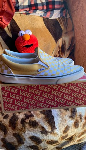 Yellow checkered slip on vans for Sale in Hollister, CA