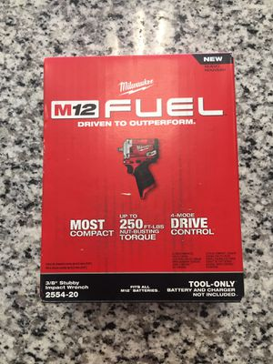 """Milwaukee M12 FUEL Stubby 3/8"""" Impact Wrench (Tool-Only) 2554-20 #16051-1 for Sale in Boston, MA"""
