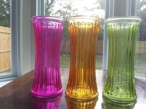set of colored glass flower vases for Sale in FL, US