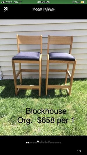 "2 black Blockhouse furniture bar chairs 31"" seat to floor for Sale in Alexandria, VA"