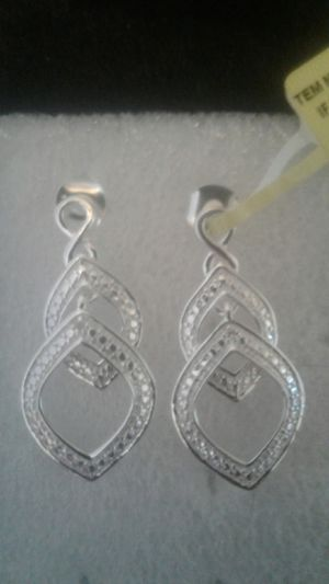 Diamond accent 925 silver earrings for Sale in West Valley City, UT