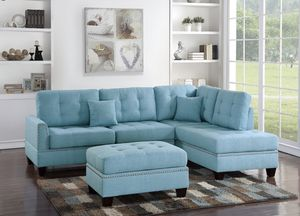 JUST $50 DOWN Blue sectional sofa and ottoman for Sale in Miami, FL