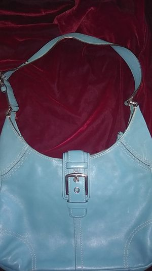 Coach teal/turquoise all leather shoulder hobo bag for Sale in Houston, TX