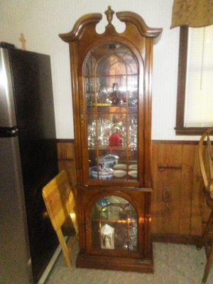 Wooden/glass display cabinet for Sale in Winston-Salem, NC