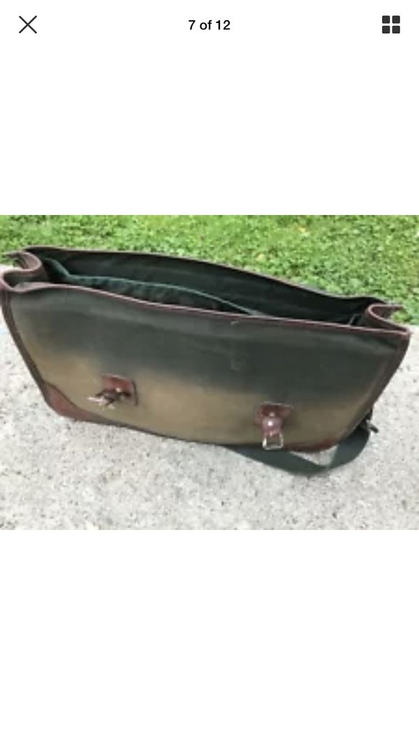 VTG Orvis Mens Green Canvas & Brown Leather Messenger Bag Briefcase Made in USA