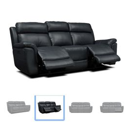 Navy Blue Dual Reclining Leather Sofa for Sale in Sterling Heights,  MI
