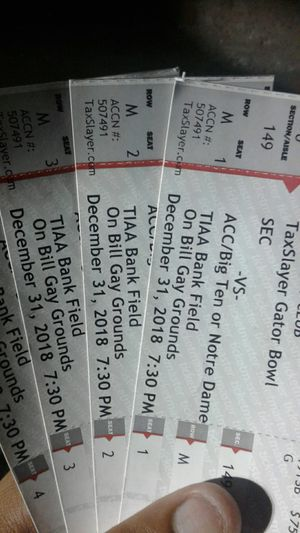 GATOR BOWL TICKETS---TEXAS A&M VS NC STATE for Sale in Jacksonville, FL