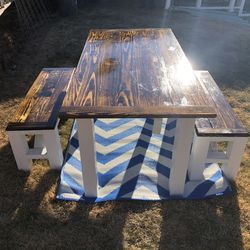 Handmade Farmhouse Dining Table And Matching Benches for Sale in Berkeley,  MO