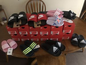 Nike and Adidas Sport Slides kids and adults New! Many sizes. for Sale in Portage, MI