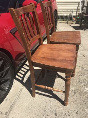 6 oak wood bar stool chairs for Sale for sale  Montclair, NJ