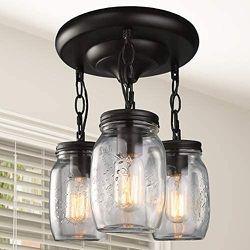 lNC Flush Mount Ceiling Farmhouse Mason Jar Glass Pendant Light Fixture for Sale in Chicago,  IL