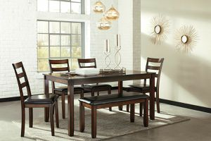 Coviar - Brown dining room table set 6 count for Sale in Orlando, FL
