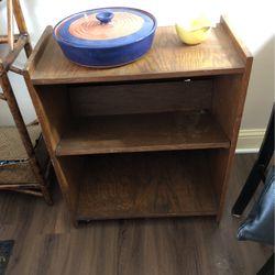 "30""Hx25""Lx13""W Sturdy Wooden Rolling Cart/Bookshelf for Sale in Everett,  WA"
