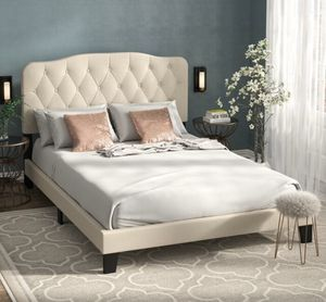 Willa Arlo Interiors Chesterwood Upholstered Standard King Bed – Linen for Sale in Indianapolis, IN