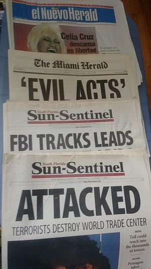 Newspapers from The Twin Towers Terror Attack Celia Cruz death for Sale in Hialeah, FL