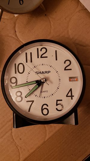 Sharp round plastic table clock alarm retro look for Sale in Cleveland, OH