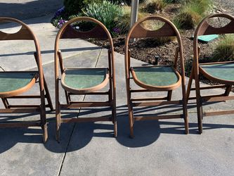 Vintage Wood Folding Chairs Set Of 4 for Sale in Portland,  OR