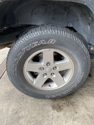 Jeep Wrangler Wheels and Tires - Set of 5 for Sale in Wake Forest, NC