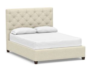 Contractor grade Pottery Barn Queen Bed with tufted headboard,slats, and premium box spring for Sale in San Francisco, CA