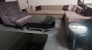 3 pc Sectional, Unique coffee table, round glass end table for Sale in North Las Vegas, NV