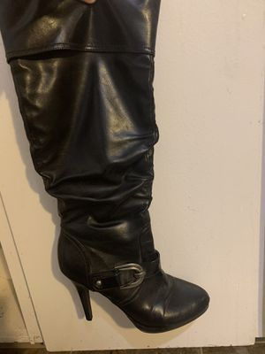 Tall black zip up boot heels. for Sale in Tigard, OR