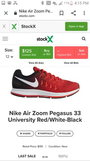 Nike zoom pegasus 33 shoes size 12 for Sale in Grand Prairie, TX