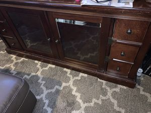 60in tv stand dark cherry wood-great shape like new for Sale in Boston, MA