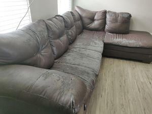 FREE: Worn out leather couch for Sale in Westerville, OH