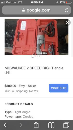 Milwaukee 2 speed right angle drill ONLY 140 for Sale in Fremont, NC