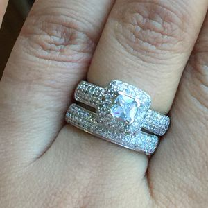 White sapphire silver wedding engagement ring band set size 6/7 available for Sale in Silver Spring, MD
