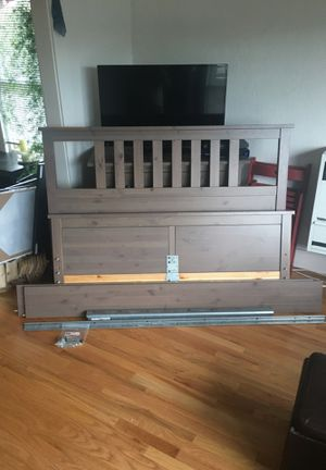 IKEA Hemnes Queen-Sized Bed-frame, Light Gray for Sale in Portland, OR