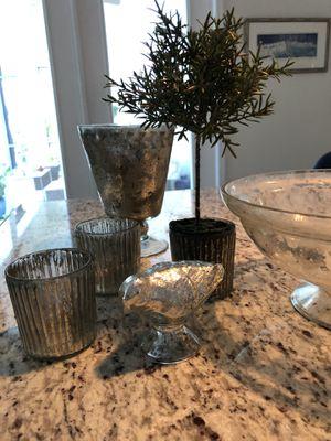 Mercury Glass Vase,Votives, Bowl for Sale in Sanford, FL