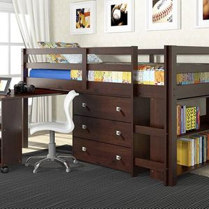 Kids Low Study Loft Bed, Dark brown / Cappuccino, shelves and drawers for Sale in San Jose, CA