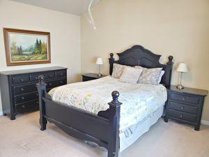 5 piece bedroom set - queen bed frame, 2 nightstands, tall dresser, credenza dresser for Sale in Graham, WA