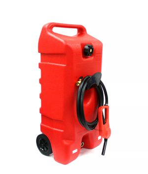 14 Gallon Gas Caddy Can Fluid Transfer w/ Hand Nozzle Pump & 10' Long Fuel Hose for Sale in La Habra Heights, CA