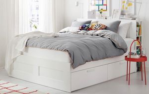 Queen size bed frame w bookshelves n storage for Sale in Fort Lauderdale, FL